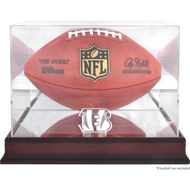 Cincinnati Bengals Authentic Mahogany Football Logo Display Case with Mirror Back