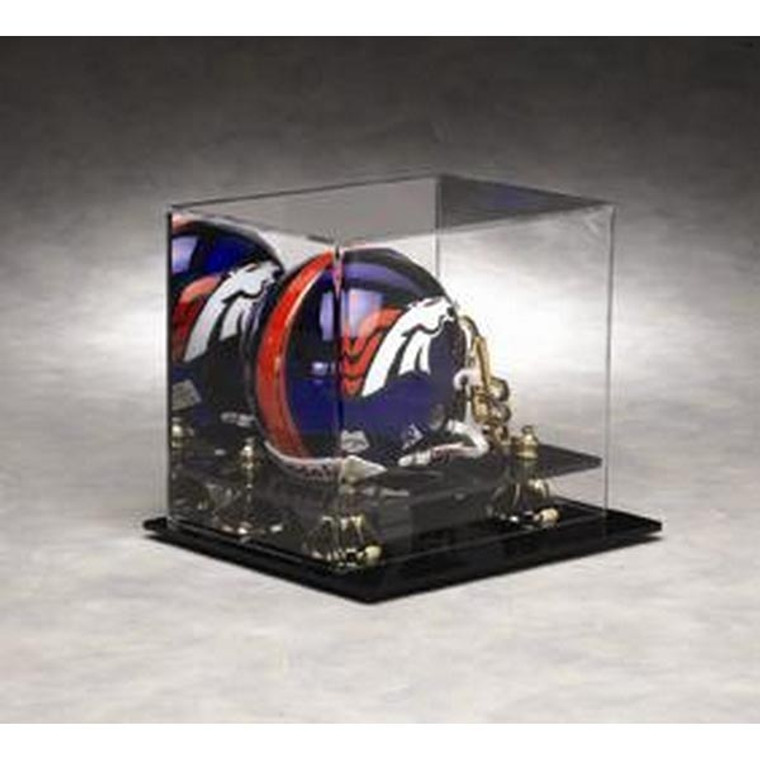 Football Mini Helmet Display Case with Gold Risers