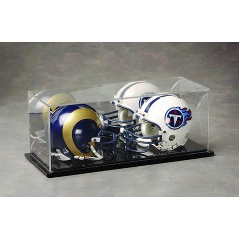 Football Mini Helmet Dual Display Case with Mirrored Background