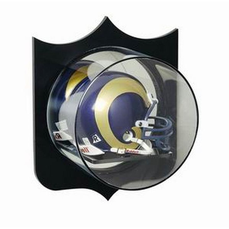 Football Mini Helmet Display Case with Plaque Background - Wall Mountable