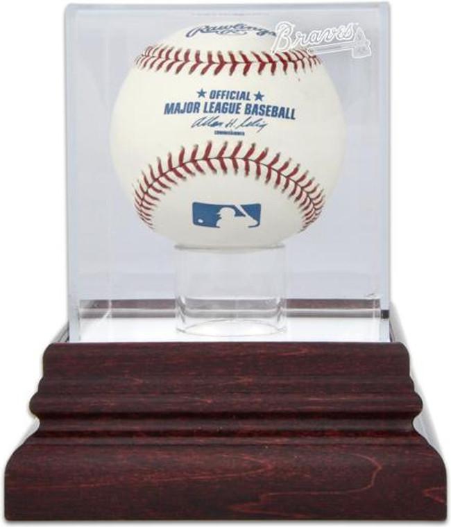 Antique Mahogany MLB Baseball Braves Display Case