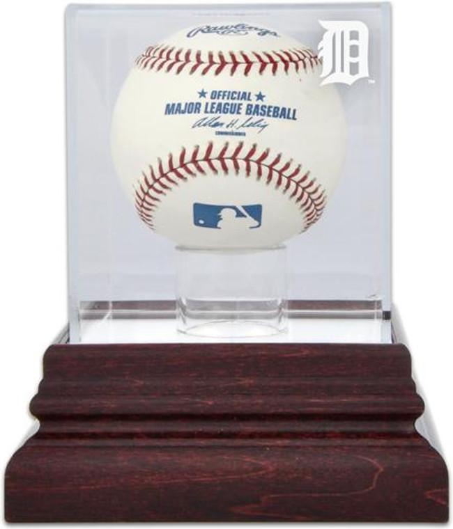 Antique Mahogany MLB Baseball Tigers Display Case