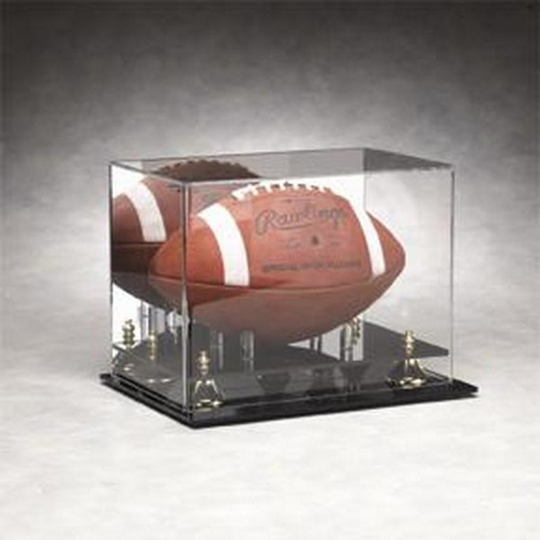 Full Size Football Display Case with Gold Risers and Mirrored Background