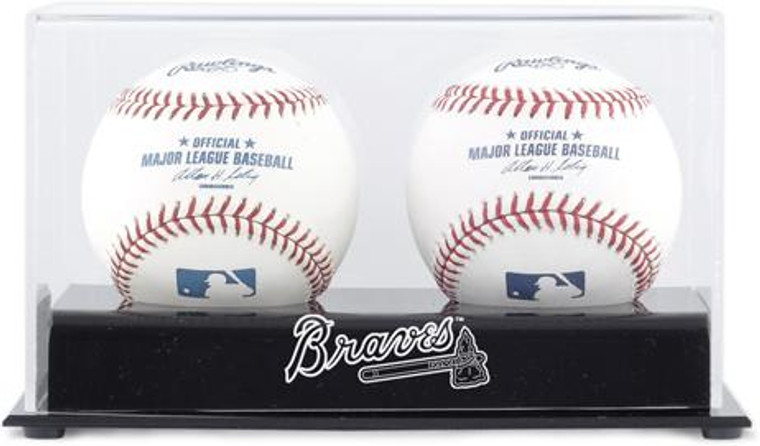 Deluxe MLB Two Baseball Cube Braves Display Case