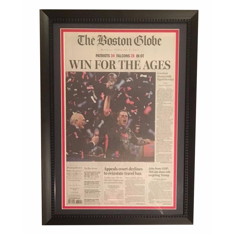 Tom Brady framed Boston Globe Article