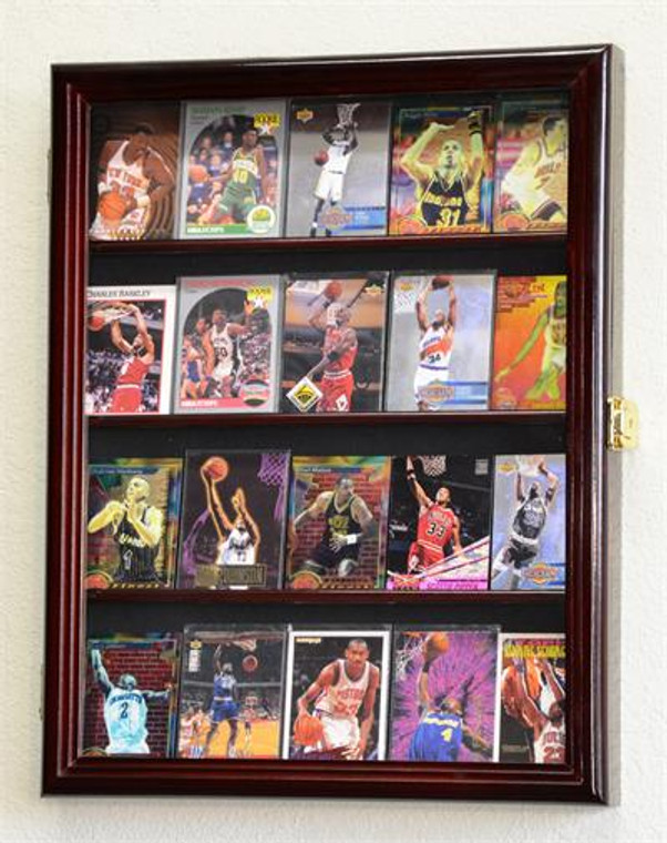 20 Sport Cards Memorabilia Card Display Case Cabinet Holder Wall Rack 98% UV, Lockable