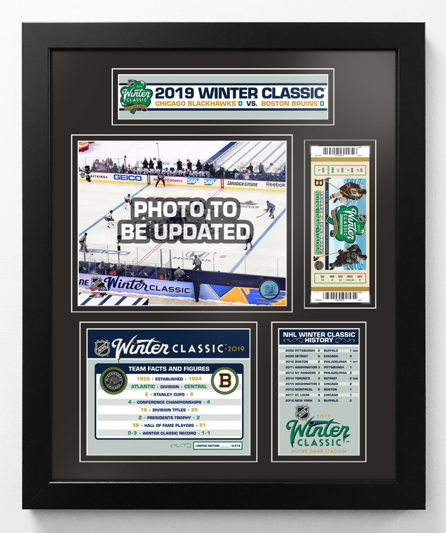 Boston Bruins vs. Chicago Blackhawks - 2019 NHL Winter Classic 18x22 Framed and Matted Piece