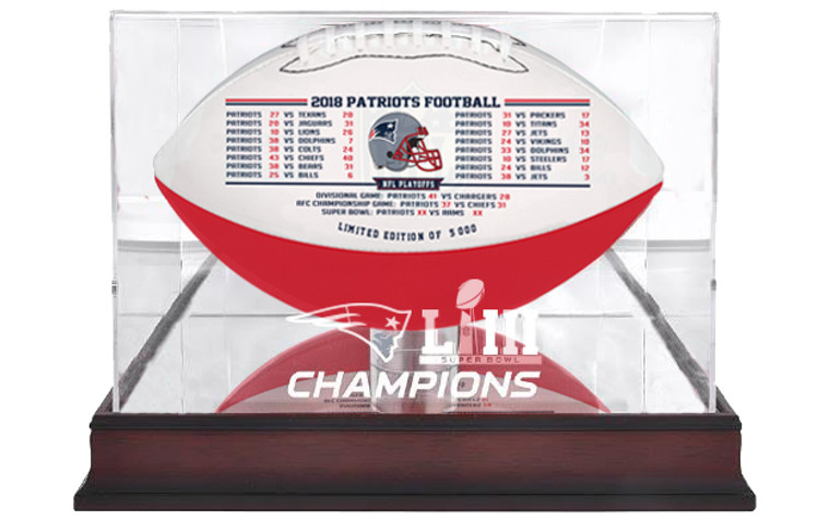 New England Patriots Super Bowl Logo Mahogany Display Case - Ball not included!