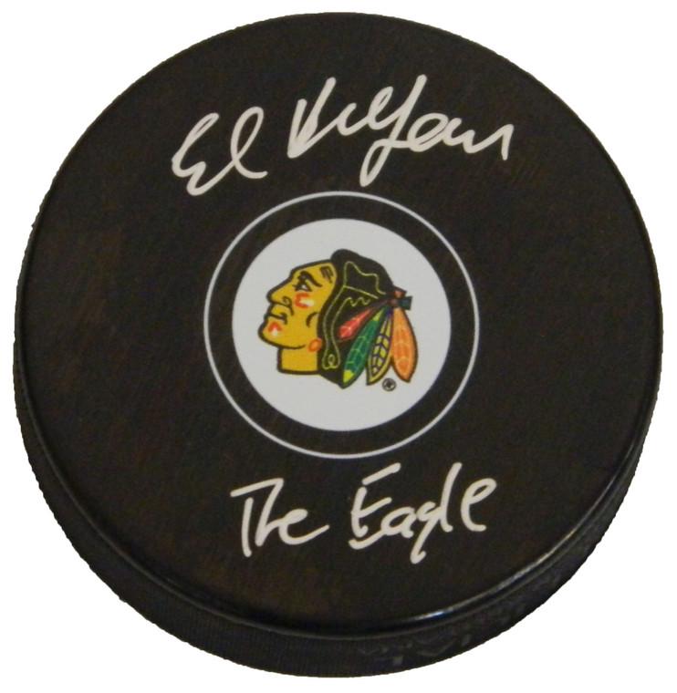 "Ed Belfour autographed Blackhawks Logo Puck inscribed ""The Eagle"""