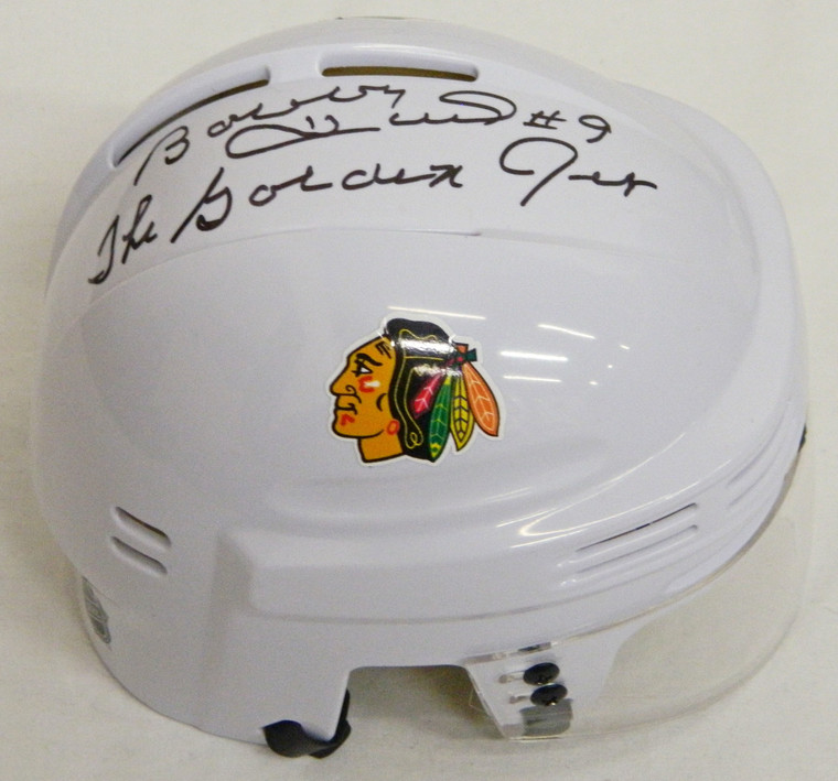 Bobby Hull Signed Blackhawks White Hockey Mini Helmet w/The Golden Jet