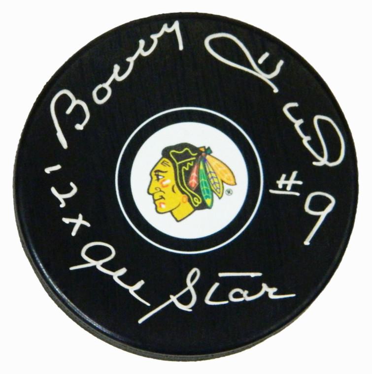 Bobby Hull Signed Chicago Blackhawks Logo Hockey Puck w/12x NHL All Star