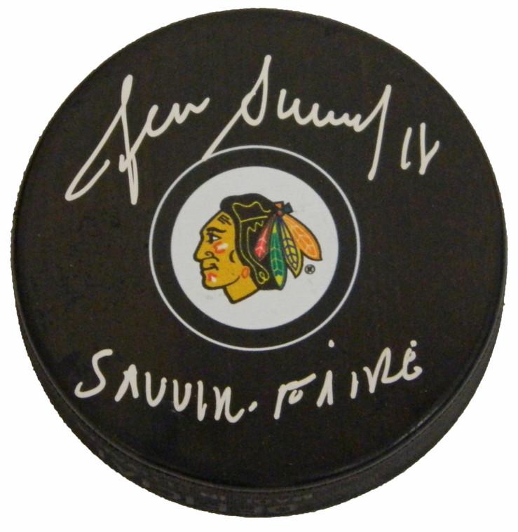 Denis Savard Signed Chicago Blackhawks Logo Hockey Puck w/Savoir Faire