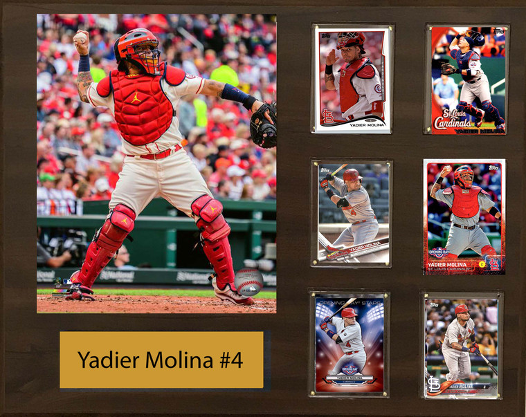 Yadier Molina, St. Louis Cardinals, 16x20 Plaque - 8x10 Action photo and 6 baseball cards