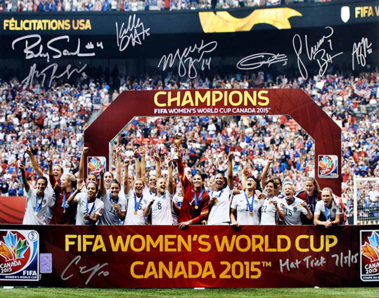 US Women's National Team 2015 World Cup Champions - Podium 16x20 Autographed Photo