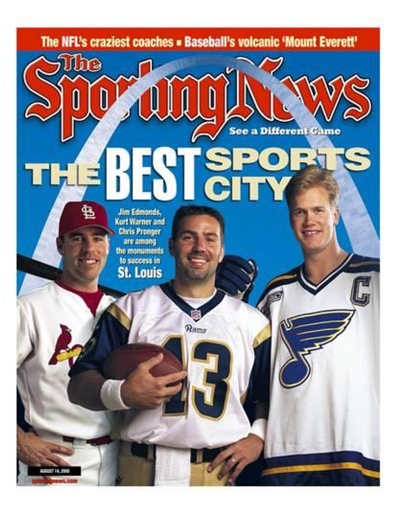 St Louis Best Sports City Sporting News Cover Unframed Reproduction featuring Jim Edmonds Kurt Warner and Chris Pronger