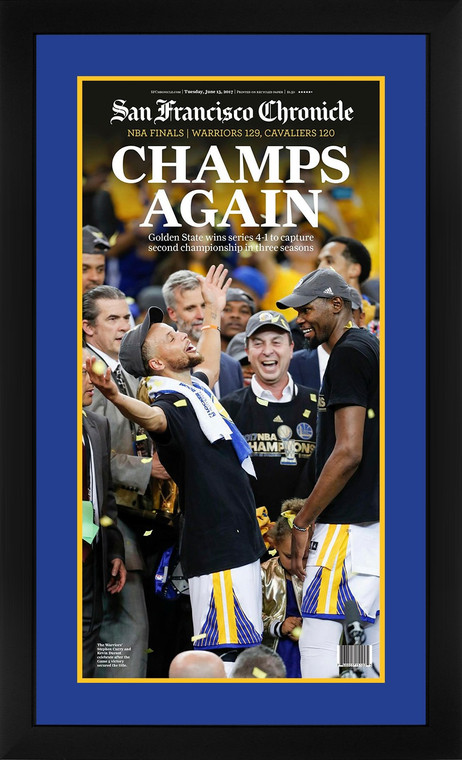San Francisco Chronicle Framed Front Page - Golden State Warriors 2017 NBA Champions