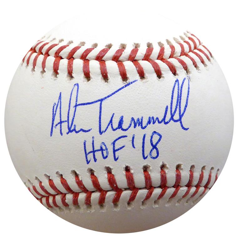 """Alan Trammell Autographed  Baseball - Detroit Tigers MLBInscribed """"HOF 18"""" Beckett BAS"""