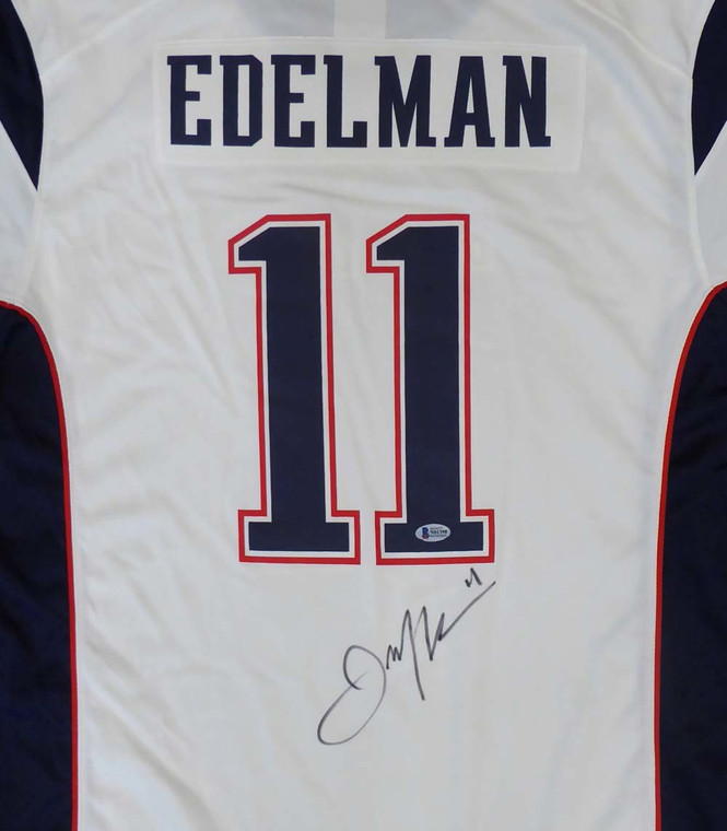Julian Edelman Autographed Jersey - New England Patriots Nike White with SB LIII Patch Size XL Beckett BAS