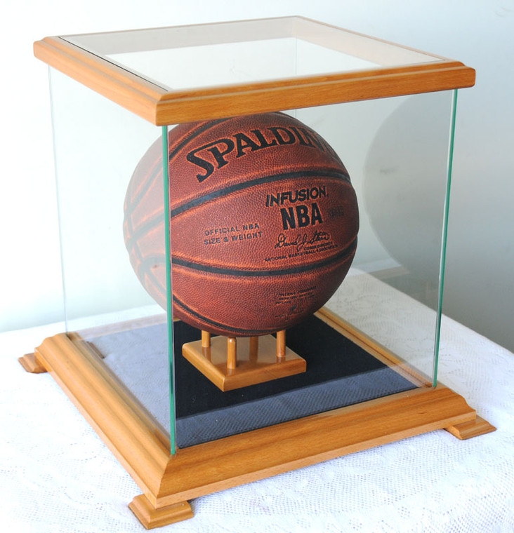 Glass Display Case for Basketball, Soccer Ball, Football, Baseball Glove, Helmets and more
