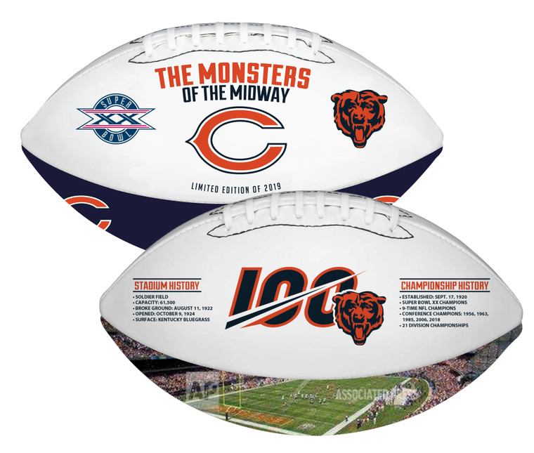 Chicago Bears Memorabilia 100th Anniversary Season Football