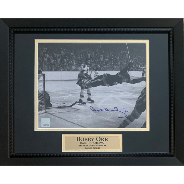 Bobby Orr 8x10 Framed Photo - Boston Bruins Autographed 1970 Stanley Cup Dive - Great North Road COA