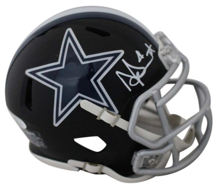 Dak Prescott Autographed Dallas Cowboys Black Matte Mini Helmet JSA