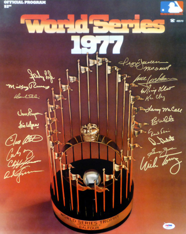 1977 World Series Champion New York Yankees Team Signed 16x20 Photo With 20 Signatures Including Reggie Jackson PSA/DNA Letter
