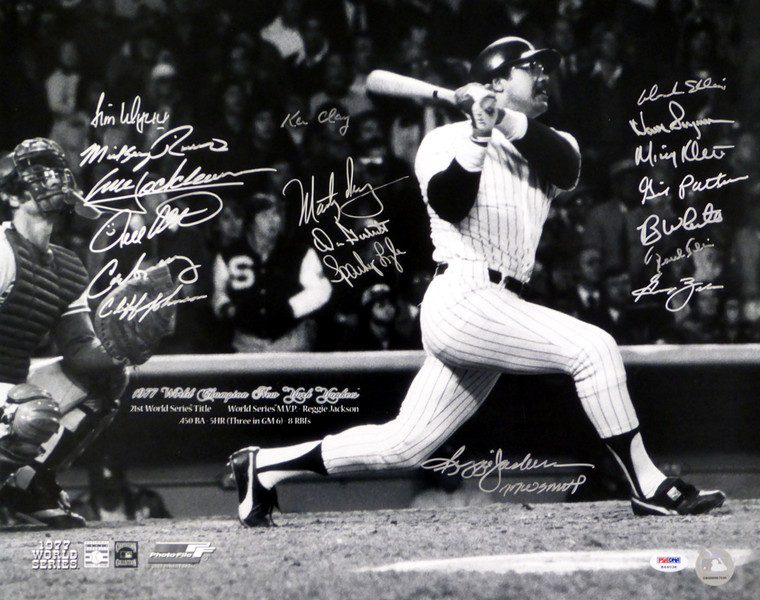 1977 World Series Champion New York Yankees Team Signed 16x20 Photo With 19 Signatures Including Reggie Jackson PSA/DNA Letter