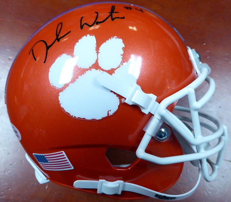 Deshaun Watson Autographed Mini Helmet - Clemson Tigers Schutt National Champs Sticker Beckett BAS