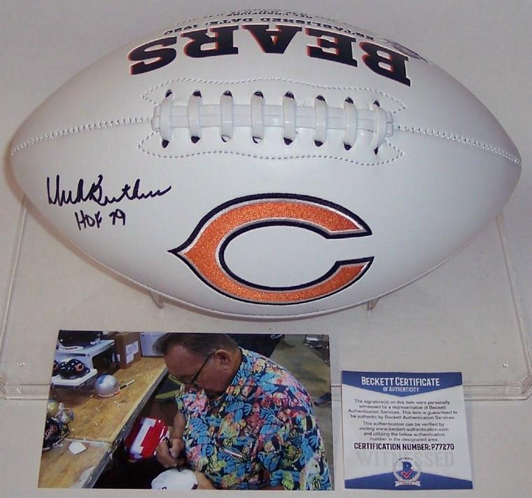 Dick Butkus Autographed Football - Chicago Bears Logo BAS Beckett