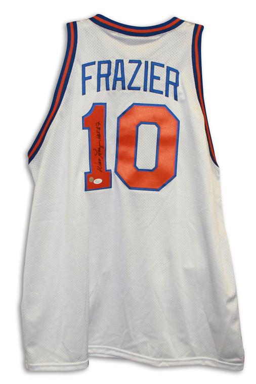 "Walt Frazier Autographed Jersey - New York Knicks White Throwback Inscribed ""HOF 87"""