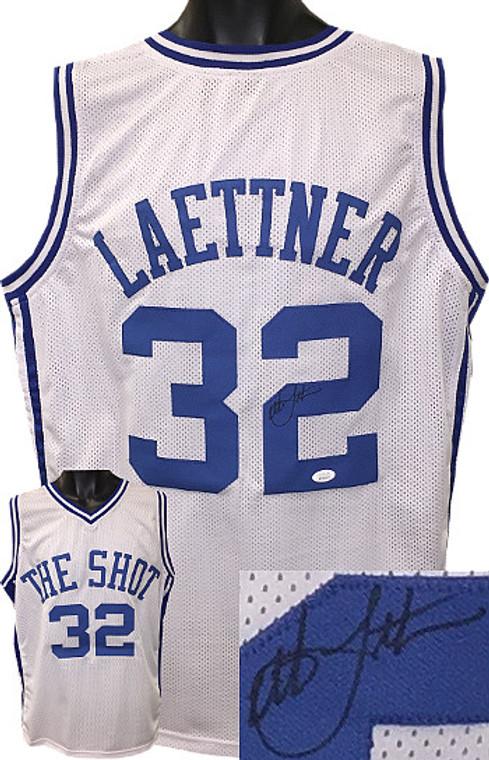 Christian Laettner Autographed Jersey - White Custom Stitched Duke Blue Devils College Basketball The Shot Jersey XL (black sig) - JSA Witnessed Hologram