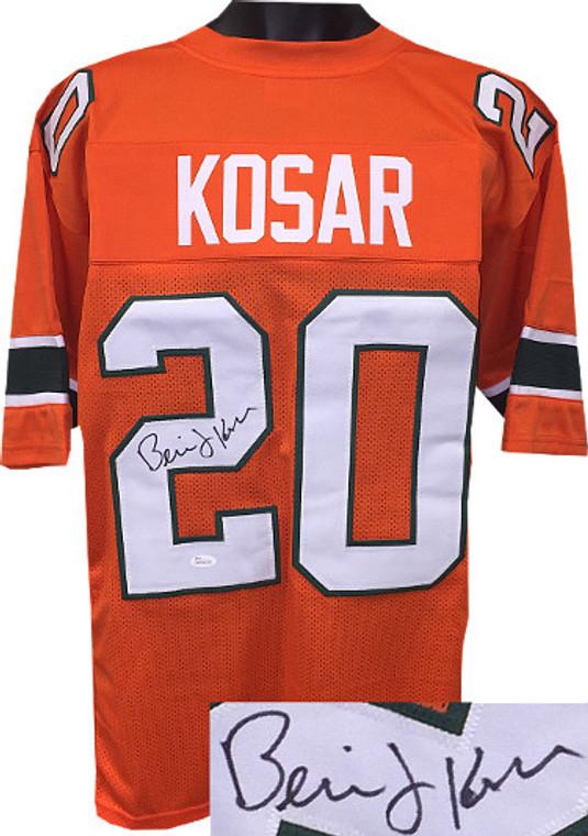 Bernie Kosar Autographed Jersey - Orange TB Custom Stitched Miami Hurricanes College Football Jersey XL - JSA Witnessed Hologram