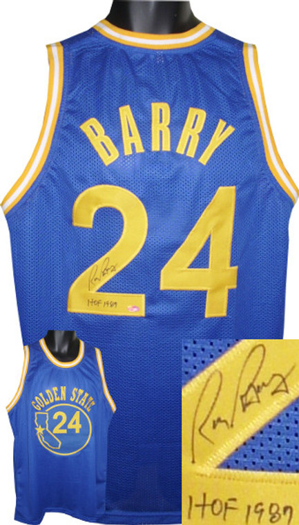 Rick Barry Autographed Jersey - Blue TB Custom Stitched Golden State Warriors Basketball Jersey HOF 1987 (Size L)