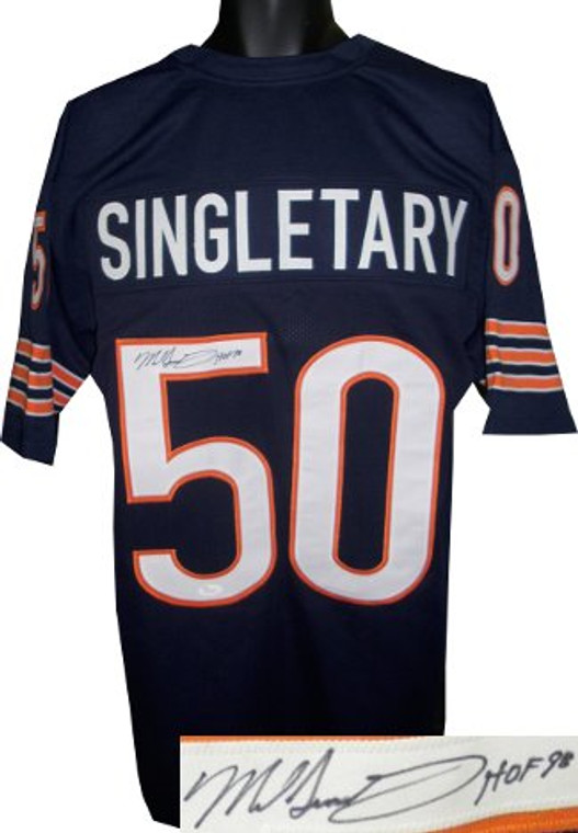 Mike Singletary Autographed Jersey - Navy TB Custom Stitched Pro Style Chicago Bears Football Jersey #50 HOF 98 XL - JSA Hologram