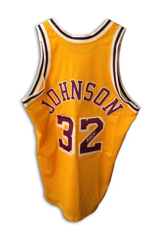Magic Johnson Autographed Jersey - Los Angeles Lakers Custom Gold Throwback
