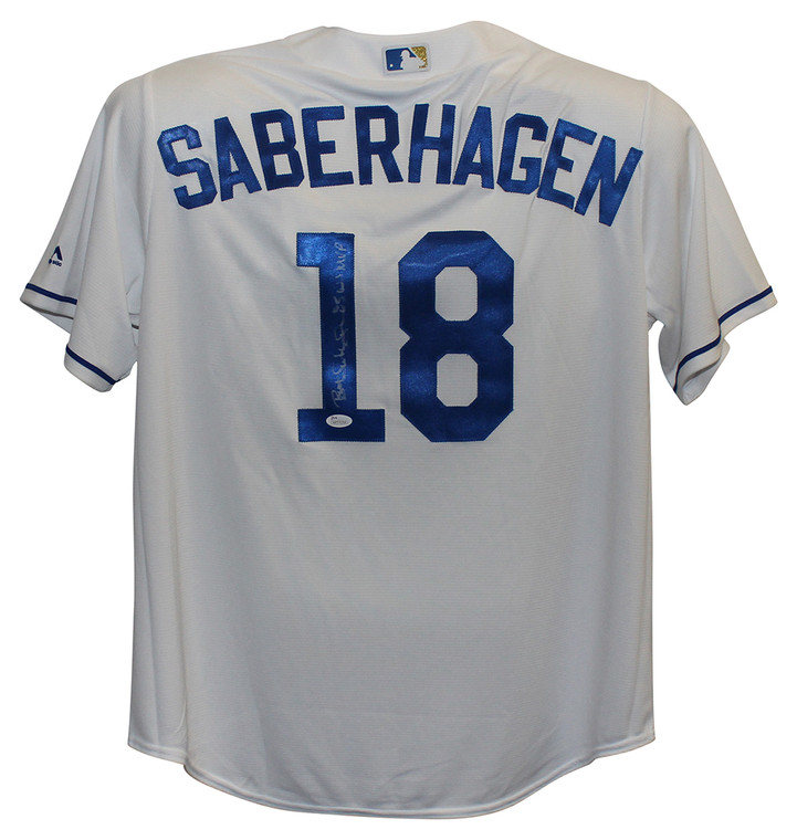 Bret Saberhagen Autographed Jersey - Kansas City Royals White XL 85 World Series MVP JSA
