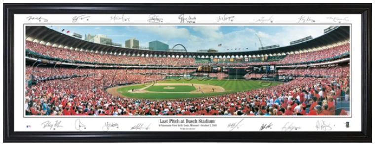 St. Louis Cardinals Framed Panorama - Busch Stadium II Last Pitch with Facsimile Signatures