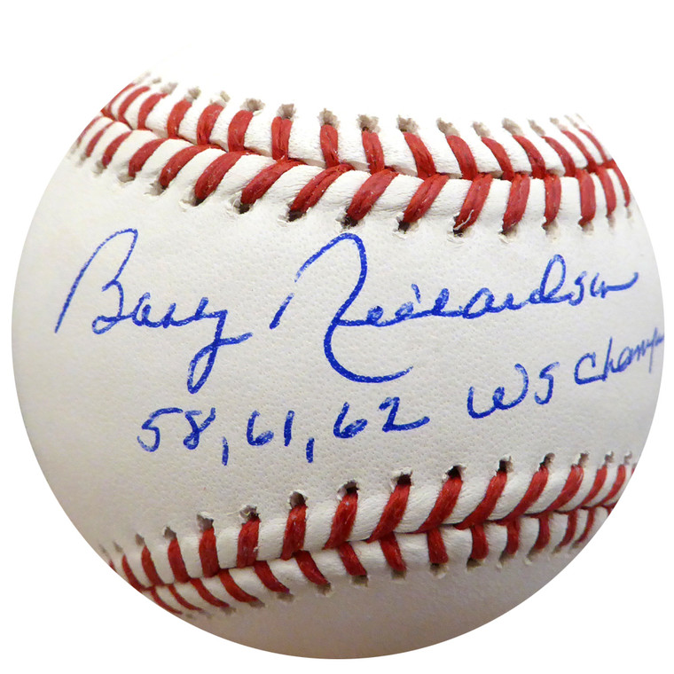 Bobby Richardson Autographed Baseball - New York Yankees  Rawlings Official MLB 58, 61, 62 WS Champs  Beckett BAS