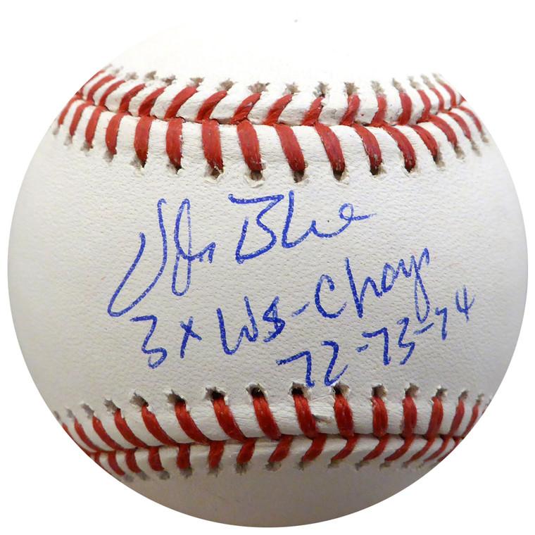 Vida Blue Autographed Baseball - Oakland A's Rawlings Official MLB 3x WS Champs 72-73-74  Beckett BAS