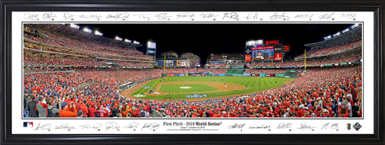 Washington Nationals - 1st Pitch 2019 World Series Panorama with facsimile signatures