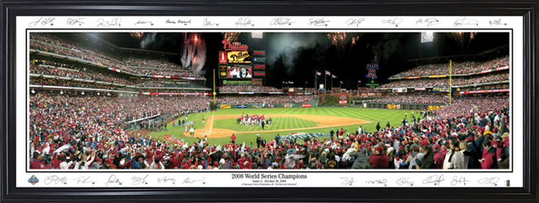 Philadelphia Phillies Panorama - 2008 World Series Champions with facsimile signatures
