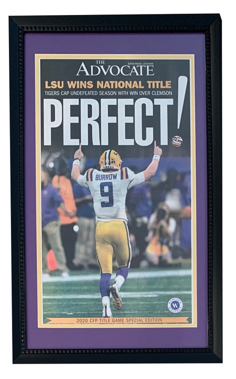 LSU Tigers 2019 Football National Champions New Orleans Advocate PERFECT Framed Original Newspaper With Joe Burrow