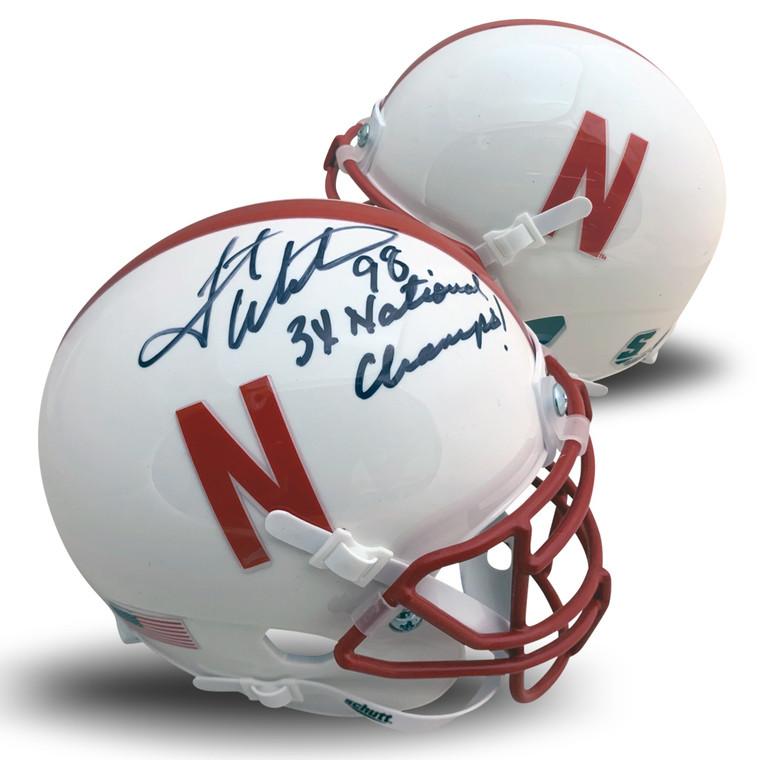 Grant Wistrom Autographed Mini Helmet - Nebraska Cornhuskers White Football 3 X CHAMPS JSA COA