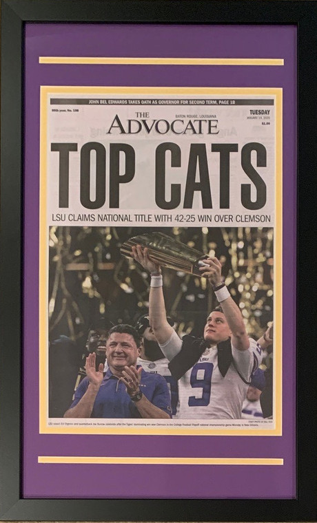"""LSU Tigers 2019 Football National Champions New Orleans Advocate """"Top Cats"""" Framed Newspaper Original Front Page With Joe Burrow 2"""