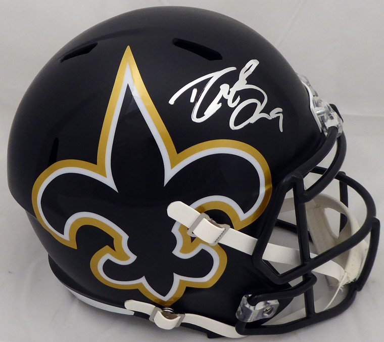 Drew Brees Autographed Full Size Helmet - New Orleans Saints Black AMP Replica Speed Riddell  Beckett BAS