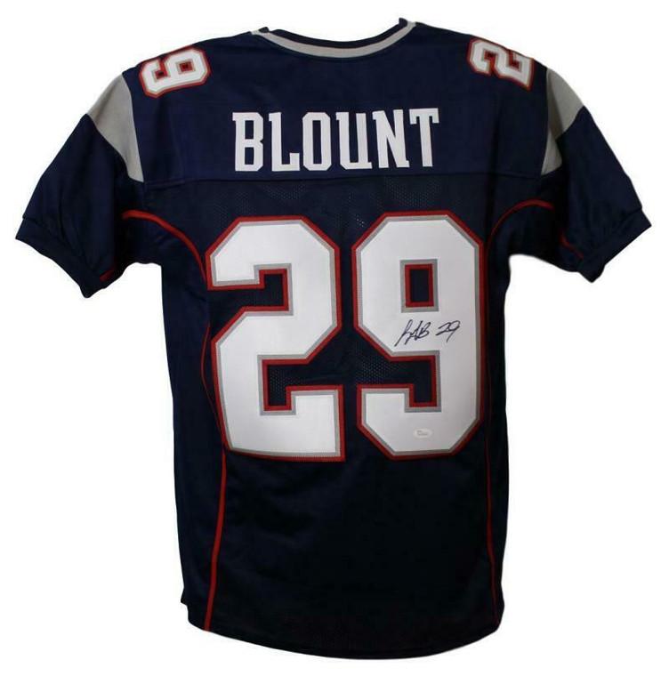 LeGarrette Blount Autographed Jersey - New England Patriots Blue XL JSA