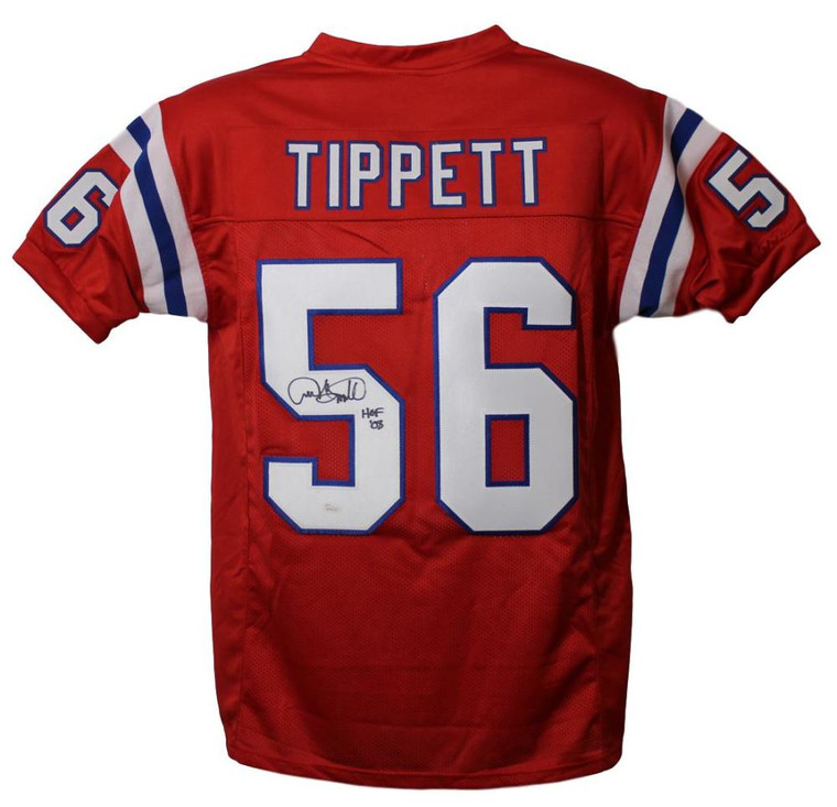 Andre Tippett Autographed Jersey - New England Patriots Red XL HOF JSA