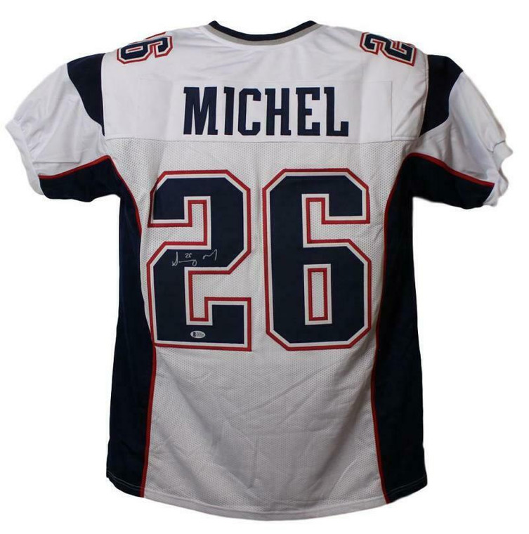 Sony Michel Autographed Jersey - New England Patriots White XL BAS