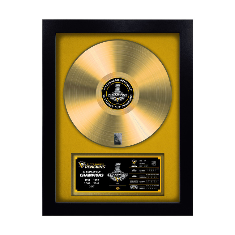 Pittsburgh Penguins 2016-17 Stanley Cup Champions Gold Record